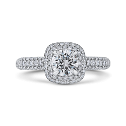 14K White Gold Round Diamond Double Halo Engagement Ring