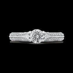 14K White Gold 7/8 Ct Diamond Promezza Engagement Set with Round Center