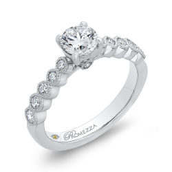 14K White Gold 1 Ct Diamond Promezza Engagement Set with Round Center