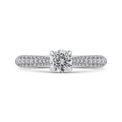 14K White Gold Round Diamond Cathedral Style Engagement Ring
