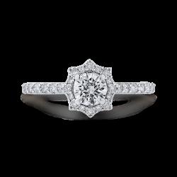 14K White Gold Round Diamond Floral Halo Engagement Ring