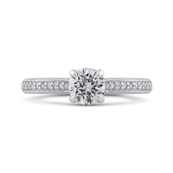 14K White Gold 7/8 Ct Diamond Promezza Engagement Set with Round Center