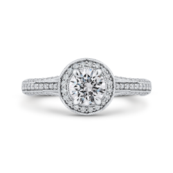 14K White Gold Round Halo Diamond Engagement Ring with Split Shank
