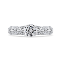 Round Cut Diamond Floral Engagement Ring In 14K White Gold