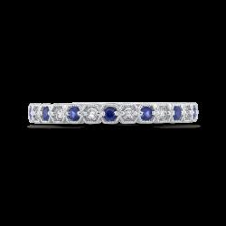 14K White Gold Round Diamond Half-Eternity Wedding Band with Sapphire