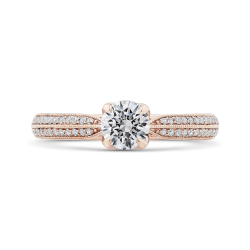 14K Rose Gold Floral Diamond Engagement Ring