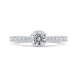 14K White Gold Round Cut Diamond Solitaire Plus Engagement Ring
