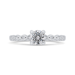 14K White Gold Round Cut Diamond Solitaire with Accents Engagement Ring