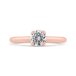 14K Rose Gold Round Cut Diamond Solitaire Engagement Ring