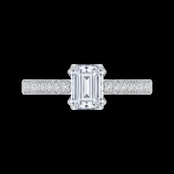 14K White Gold .27 ct. Diamond Promezza Engagement Ring with Emerald Center