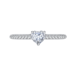 14K White Gold  3/4 Ct. Diamond Promezza Engagement Ring With Heart Center