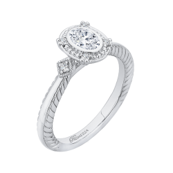 14K White Gold 5/8 Ct. Diamond Promezza Engagement Ring With Oval Center