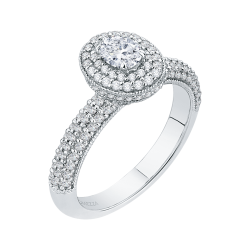 14K White Gold  1 Ct. Diamond Promezza Engagement Ring With Oval Center