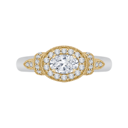 14K Two-Tone Gold  3/4 Ct. Diamond Promezza Engagement Ring With Oval Center