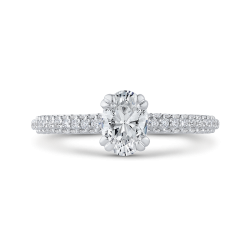 14K White Gold 1 1/3 Ct Diamond Promezza Engagement Set with Oval Center