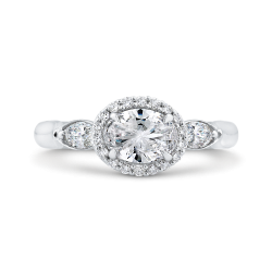 14K White Gold Oval Diamond Halo Engagement Ring