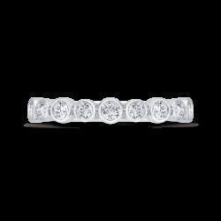 14K White Gold Round Cut Diamond Wedding Band