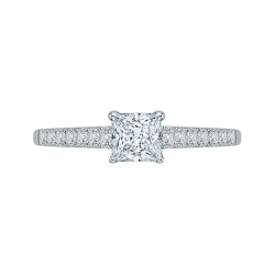 14K White Gold .29 ct. Diamond Promezza Engagement Ring with Princess Center