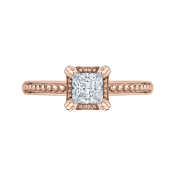 14K Rose Gold Princess Diamond Solitaire Engament Ring