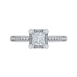 14K White Gold Princess Diamond Solitaire Engament Ring