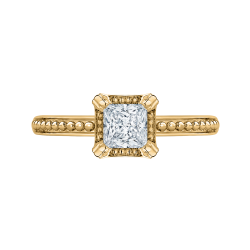 14K Yellow Gold Princess Diamond Solitaire Engament Ring