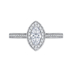 14K White Gold  1 .8 Ct. Diamond Promezza Engagement Ring With Marquise Center