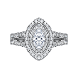 14K White Gold 1 ct. Diamond Promezza Engagement Ring with Marquise Center