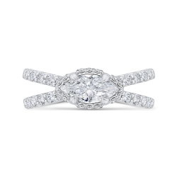 14K White Gold Marquise Cut Diamond Engagement Ring with Split Shank