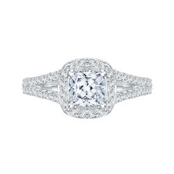 14K White Gold .56 ct. Diamond Promezza Engagement Ring with Cushion Center