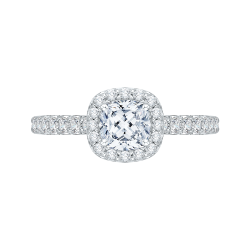 14K White Gold .43 ct. Diamond Promezza Engagement Ring with Cushion Center