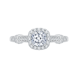 14K White Gold .21 ct. Diamond Promezza Engagement Ring with Cushion Center