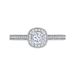 14K White Gold 1 ct. Diamond Promezza Engagement Ring with Cushion Center