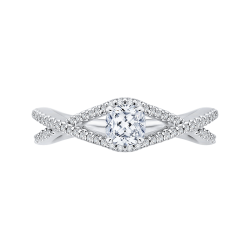 14K White Gold 7/8 ct. Diamond Promezza Engagement Ring with Cushion Center