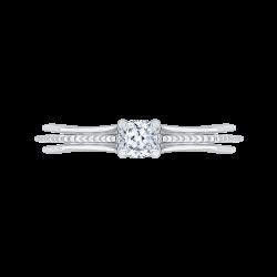 14K White Gold 2/3 ct. Diamond Promezza Engagement Ring with Cushion Center