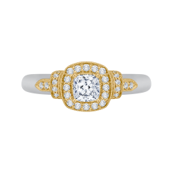 14K Two-Tone Gold  3/4 Ct. Diamond Promezza Engagement Ring With Cushion Center