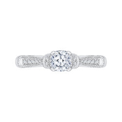 14K White Gold  3/4 Ct. Diamond Promezza Engagement Ring With Cushion Center