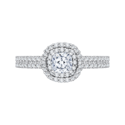 14K White Gold  1 .13 Ct. Diamond Promezza Engagement Ring With Cushion Center
