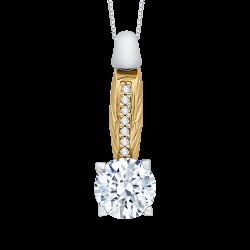 18K Two-Tone Gold 1 ct Diamond Carizza Boutique Fashion Pendant