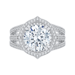 18K White Gold Round Cut Diamond Halo Engagement Ring (Semi-Mount)