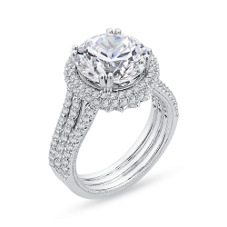 18K White Gold 1 1/3 Ct Diamond Carizza Boutique Semi Mount Engagement Ring fit Round Center