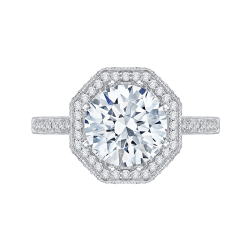 18K White Gold Round Cut Diamond Octagon Shape Halo Engagement Ring (Semi-Mount)