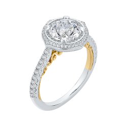 18K Two-Tone Gold 1/3  Ct Diamond Carizza Boutique Semi Mount Engagement Ring fit Round Center