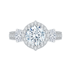 18K White Gold Round Cut Diamond Halo Engagement Ring