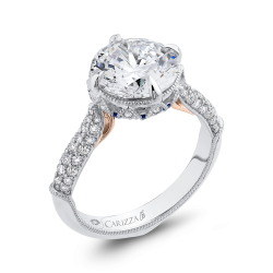 18K Two-Tone Gold 1.07 Ct Diamond Carizza Boutique Semi Mount Engagement Ring fit Round Center
