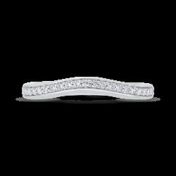 18K White Gold Round Cut Diamond Counter Wedding Band
