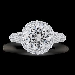18K White Gold Round Cut Diamond Halo Engagement Ring Split Shank  (Semi-Mount)