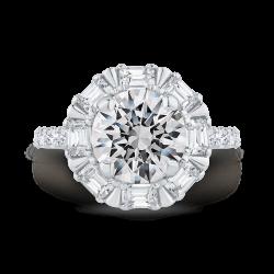 18K White Gold Round Cut Diamond Halo Engagement Ring (Semi-Mount)