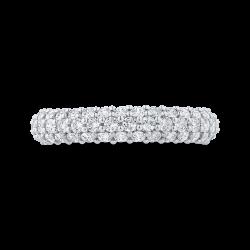 18K White Gold Round Cut Diamond Wedding Band