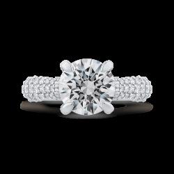 18K White Gold Round Cut Diamond Euro Shank Engagement Ring (Semi-Mount)