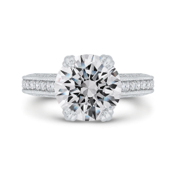 18K White Gold Round Cut Diamond Engagement Ring Euro Shank (Semi-Mount)